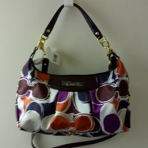 Coach NWT Ashley Hand Drawn Scarf Prnt Hobo F20063